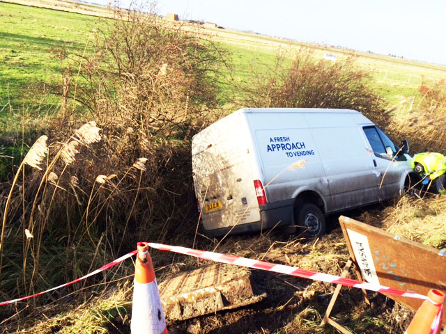 Van swerved off road in to ditch