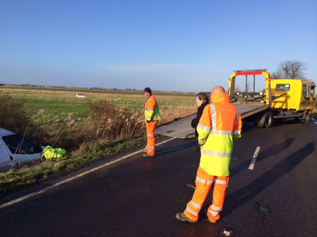 Recovering a vehicle from a field after a road traffic incident
